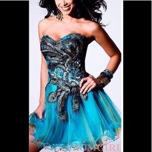 Sherri Hill Peacock Dress Homecoming Sz 0